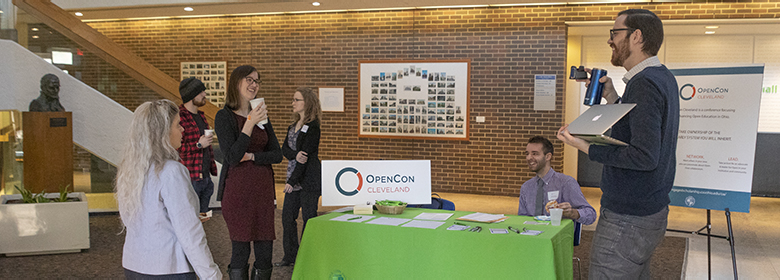 Check-in table at OpenCon 2018.