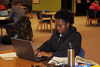 Student working with laptop