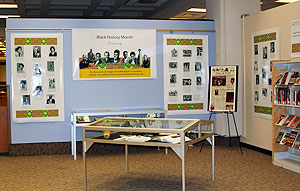 A view of the Black History Month display