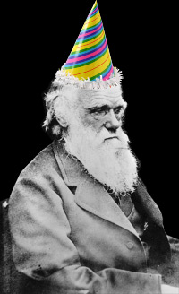 Charles Darwin in party hat