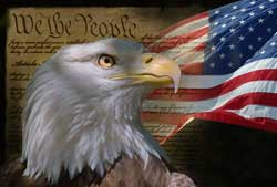 Image of an eagle and flag in front of Constitution