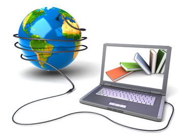 Image of lap-top plugged into the world