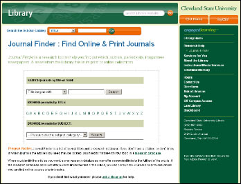View of theJournal Finder homepage