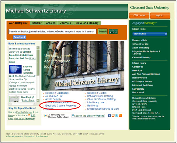 """Click on """"Electronic Course Reserves"""" from the Library's homepage"""