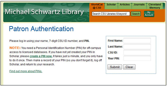 If you're accessing materials off-campus, you'll be required to log-in using your CSU id and pin number