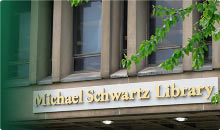 photo of the exterior of the Michael Schwartz Library