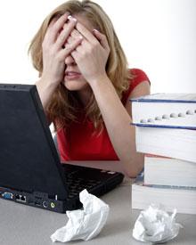 Frustraetd student working on MLA citations.