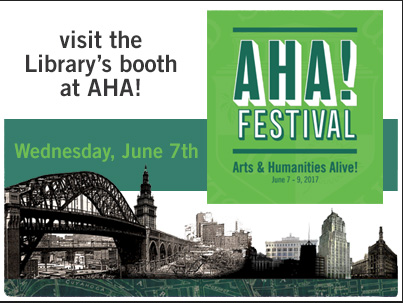 Visit the Library's booth at the AHA! Festival on June 7th