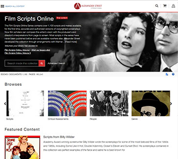 Screenshot of Film Scripts Online homepage