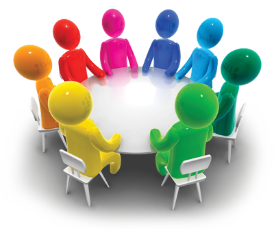 Stylized graphic of a focus group