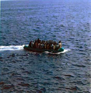 Photo of refugees in boat