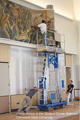 Reinstallation of mural in the Student Center Ballroom