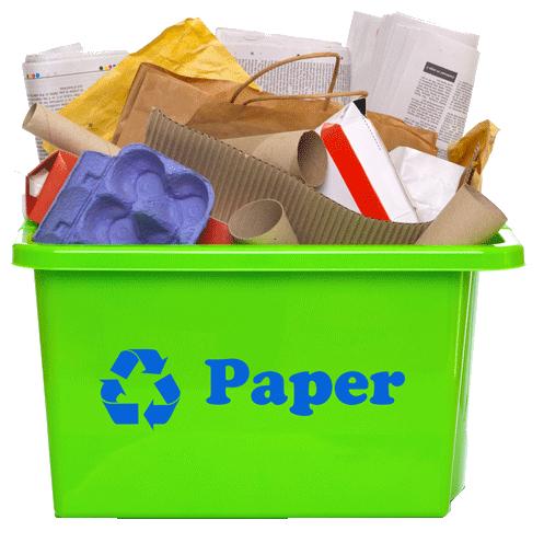 Paper in recycling bin