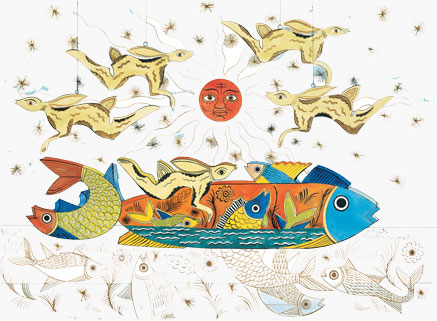 Schreckengost graphic design with fish and rabbits