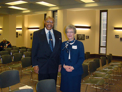 ongressman Louis Stokes and Glenda Thornton, Director, Michael Schwartz Library
