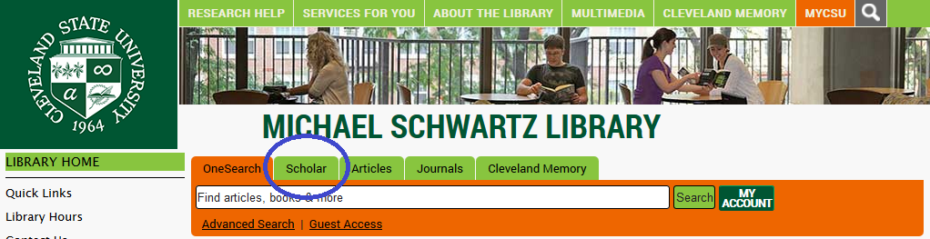 Find the scholar tab on the library homepage