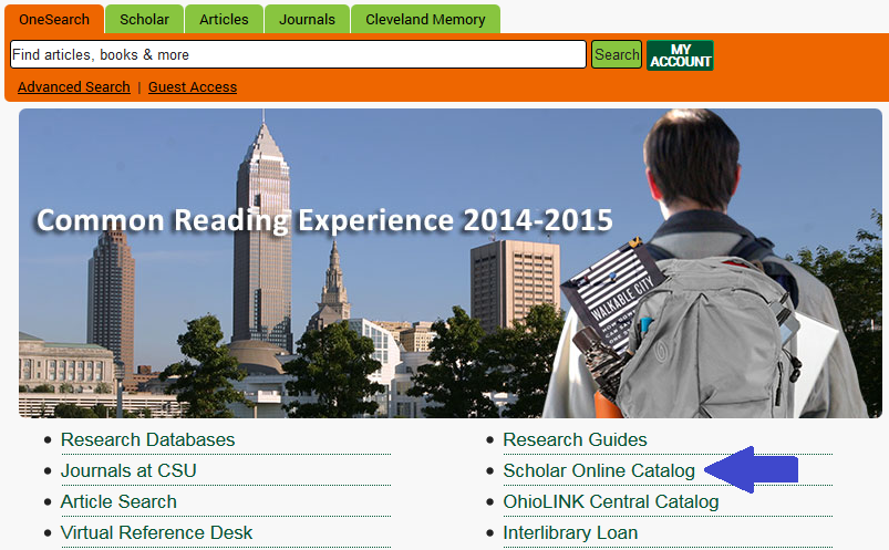 Find the scholar link on the library homepage