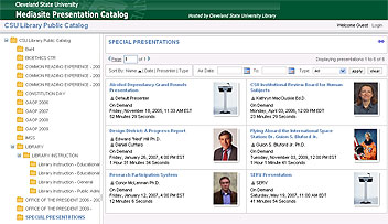 View of the Mediasite Presentation Catalog