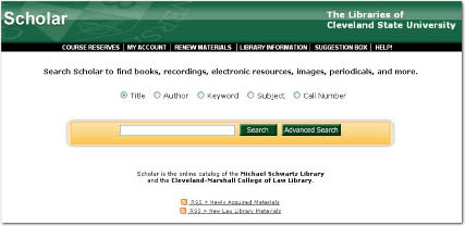 Screenshot of the SCHOLAR homepage