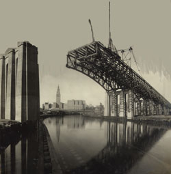View of the Lorain-Carnegie Bridge under construction